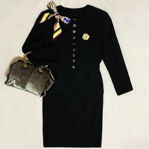 Dior 迪奥高定款立体浮雕纹羊毛荷叶摆西服半裙套装