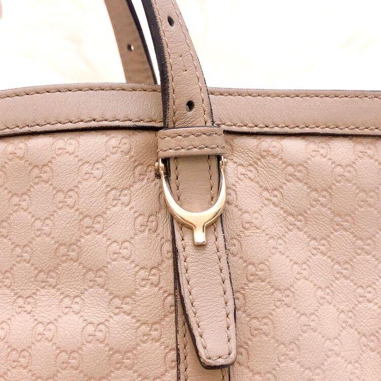 GUCCI 古驰奶茶色纯牛皮双G纹购物袋托特包