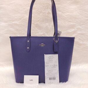 COACH 蔻驰魅力紫纯牛皮拉链购物袋托特包