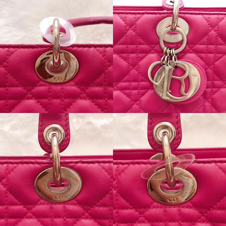 Dior 迪奥玫红色小羊皮七格经典戴妃包