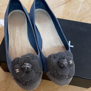 CHANEL 香奈儿牛仔蓝花朵女士平底鞋