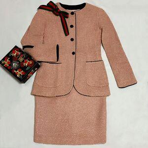 FENDI 芬迪限量款脏粉色立体颗粒卷毛绒拼黑丝绒羊毛西服半裙套装