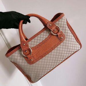 Celine 赛琳绝版布拼皮手提包
