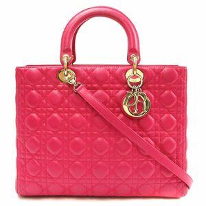 Dior 迪奥玫红色小羊皮七格戴妃包