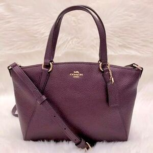 COACH 蔻驰紫色纯牛皮mini饺子包