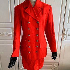 Celine 赛琳限量款凯旋门马衔扣橘红色西服半裙名媛套装