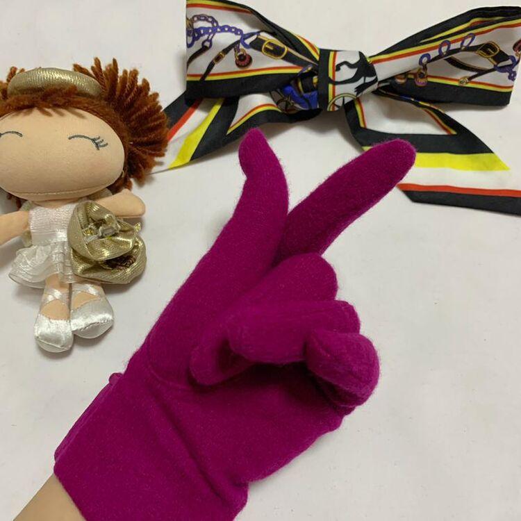 Dior 迪奥名媛款金扣流苏玫粉色麂皮拼羊毛针织手套