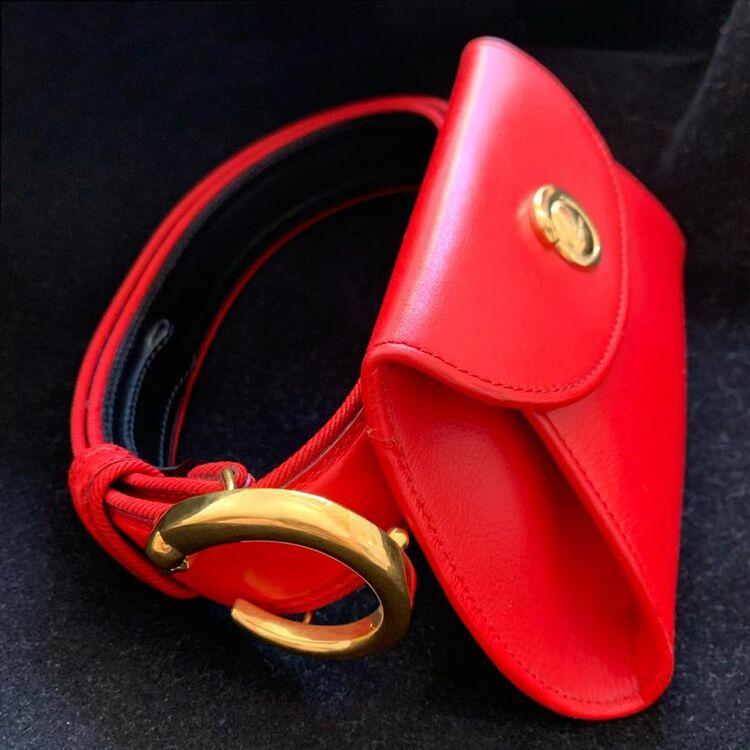 Cartier 卡地亚限量款豹头金扣中国红小牛皮信封款口盖腰包