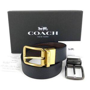 COACH 蔻驰加宽版复古风双面使用牛皮礼盒腰带