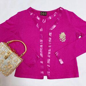 FENDI 芬迪胶印限量款玫粉色V领羊毛兔毛混纺坎袖上衣+针织开衫套装