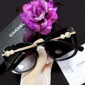 CHANEL 香奈儿珍珠限量款紫罗兰大框猫眼名媛太阳镜