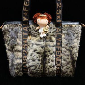 FENDI 芬迪限量款奢华皮草金扣老花织带托特手提单肩包