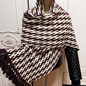 Dior 迪奥经典千鸟格咖白撞色羊毛针织披肩围巾