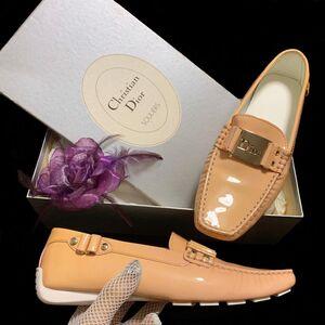 Dior 迪奥限量款大logo裸粉色果冻漆皮乐福休闲鞋