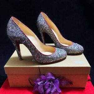 Christian Louboutin 克里斯提·鲁布托限量款极光炫彩亮片红底高跟鞋
