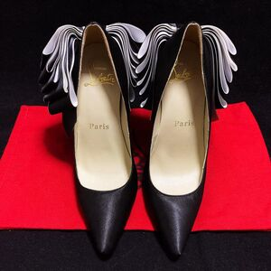 Christian Louboutin 克里斯提·鲁布托限量款超大蝴蝶结炫黑真丝缎面红底高跟鞋