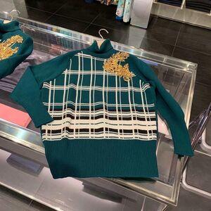 Miu Miu缪缪女士绿色格纹羊毛针织衫