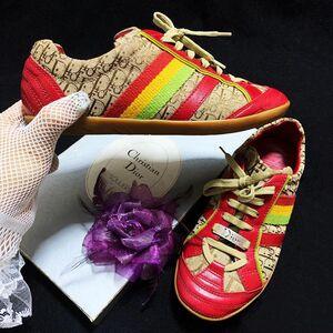 Dior 迪奥牙买加限定款彩虹老花拼中国红小牛皮休闲鞋