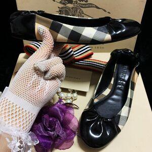 Burberry 博柏利 经典战马格纹拼黑漆皮圆头浅口蛋卷平底休闲鞋