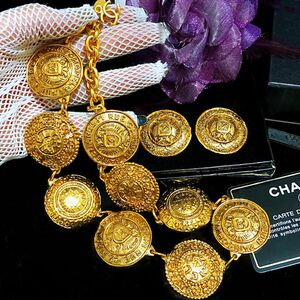 CHANEL 香奈儿限量款全包金重工雕花项链+耳夹套装