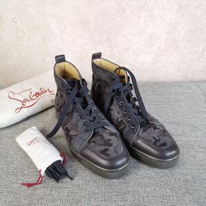 Christian Louboutin克里斯提·鲁布托男士黑色毛呢迷彩拼皮红底高帮休闲鞋