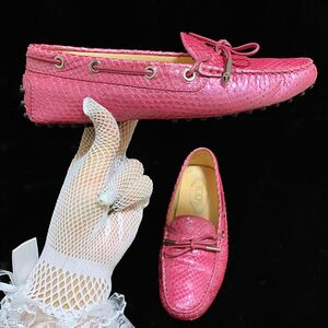 TOD'S 托德斯 限量款樱花粉珠光蟒蛇皮豆豆平底休闲鞋