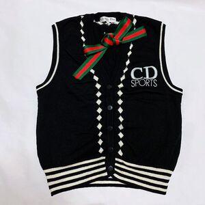 Dior 迪奥黑白撞色V领菱格纹羊毛针织开衫马甲