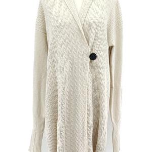 MaxMara 麦丝玛拉米白色长款一粒扣针织衫