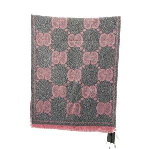 GUCCI 古驰灰粉色银丝围巾