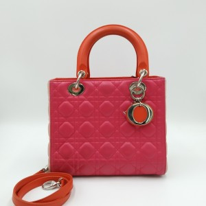 Dior 迪奥 Lady Dior玫红色戴妃包手提包