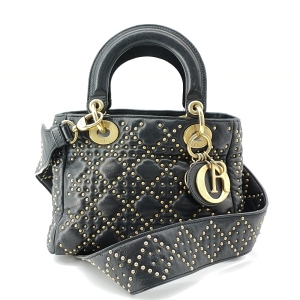 Dior 迪奥黑色铆钉lady手提单肩包