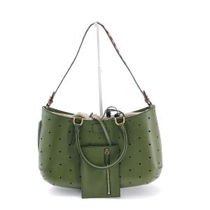 FENDI 芬迪镂空抽绳橄榄绿单肩包
