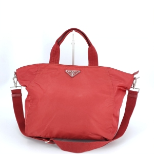 PRADA 普拉达红色降落伞布手提包