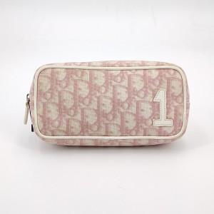 Dior 迪奥粉色印花帆布手拿包