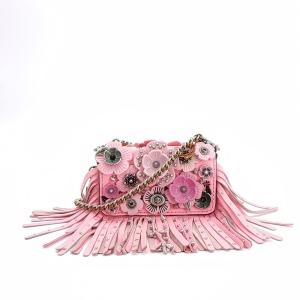 COACH 蔻驰粉色花朵铆钉链条单肩包