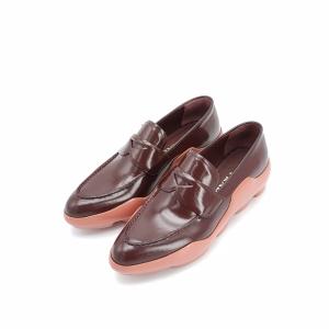 PRADA 普拉达酒红拼色皮鞋35.5码