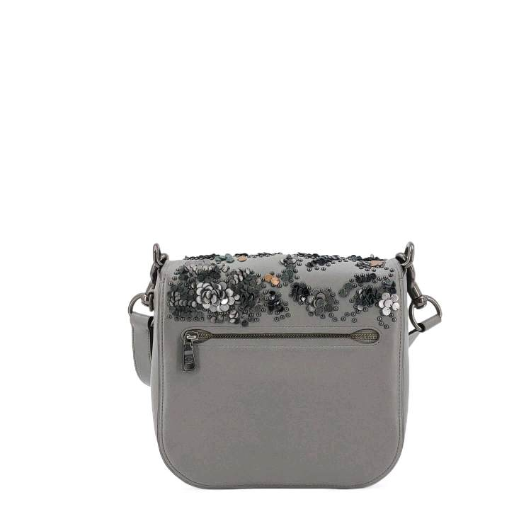 COACH蔻驰灰色花卉单肩包