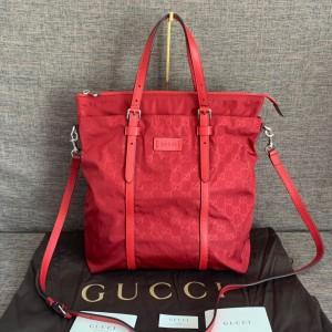GUCCI古驰红色竖版购物袋手提包