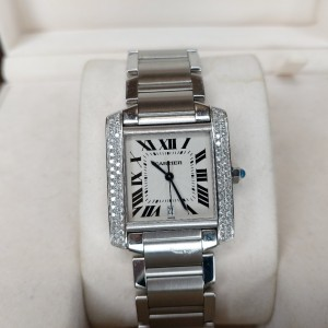 Cartier 卡地亚坦克后镶钻钢带机械腕表