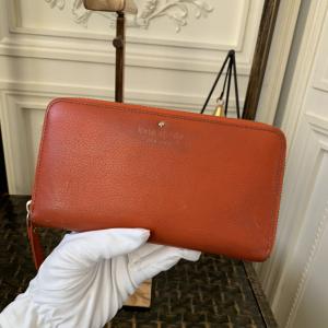 Kate Spade凯特·丝蓓橘红色真皮长款拉链钱包