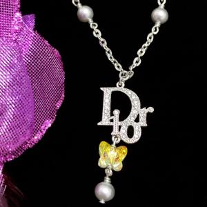 Dior 迪奥限量款满钻大logo极光炫彩水晶蝴蝶珍珠流苏吊坠锁骨链项链