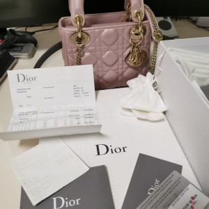 Dior三格mini戴妃包lady珠光粉金单肩斜挎手提包
