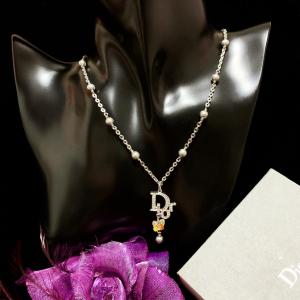 Dior 迪奥限量款满钻大logo极光炫彩水晶蝴蝶珍珠流苏吊坠链项链