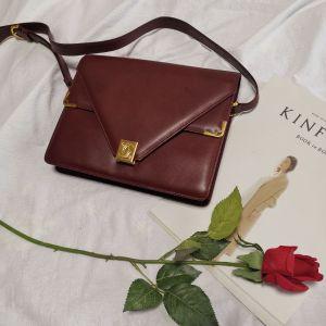 Cartier卡地亚波尔多红金扣信封女士单肩包