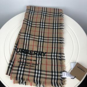 Burberry博柏利春夏羊绒格纹logo刺绣围巾