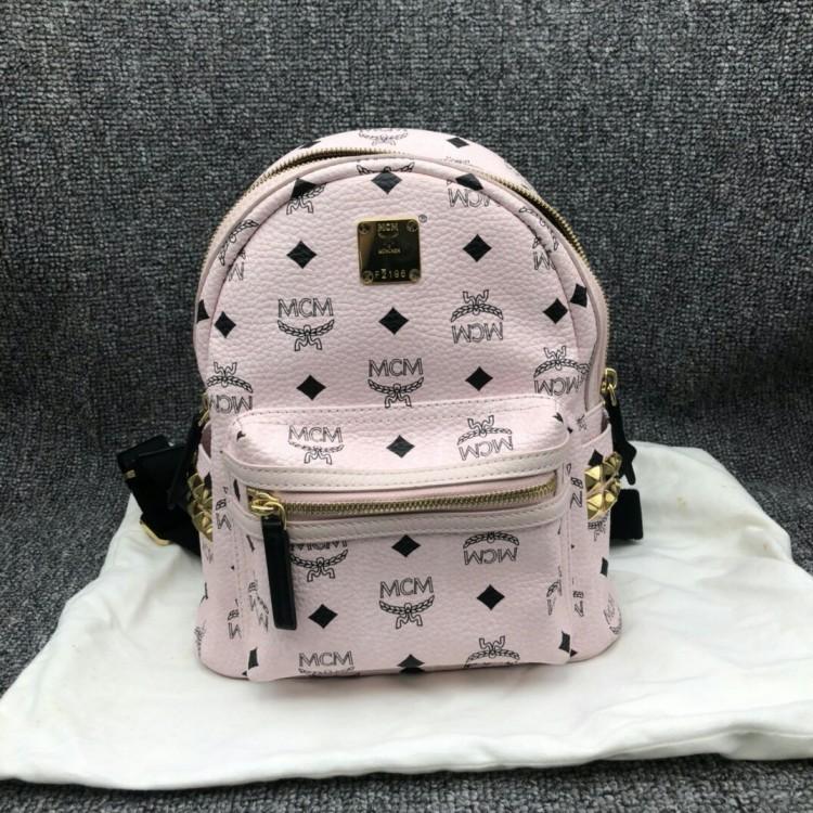 MCM  小号粉色铆钉女士双肩包