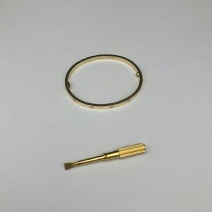 Cartier卡地亚女士18k黄金色窄版love手镯