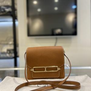 Hermès爱马仕Roulis猪鼻子金棕色单肩斜挎包c刻