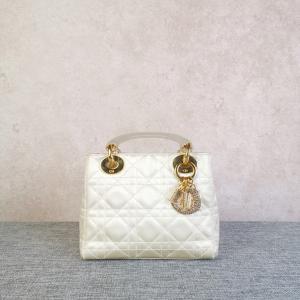 Dior女士限量版缎面钻扣迷你戴妃磨砂手提包