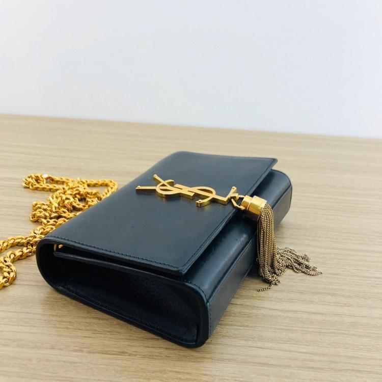 Yves Saint Laurent 伊夫·圣罗兰黑色mini流苏女士单肩包